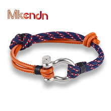 New Arrival Fashion Jewelry navy style Sport Camping Parachute cord Survival Bracelet Men with Stainless Steel Shackle Buckle(China)