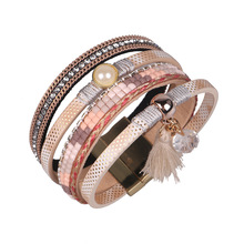 2017 New Fashion Wide Magnetic Leather bracelets & bangles Black Pink Blue Color Multilayer Bracelets Jewelry for Women Gift(China)