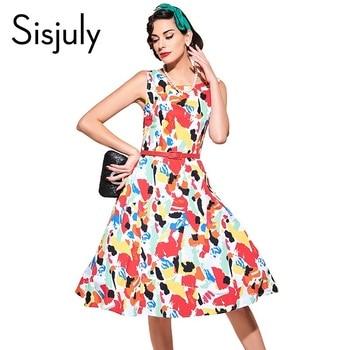 Sisjuly vintage 1950 s festa d'été femmes dress avec imprimé floral et rouge ceintures robes robe de festa femmes vintage robes