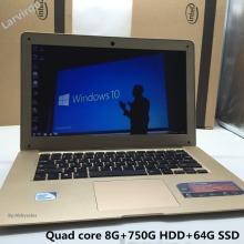 1920X1080P Screen 8GB+750GB+64G SSD Windows7/8/10 Ultrathin Laptop Notbook Computer Quad Core Up to 1.99GHz Fast Run for office(China)