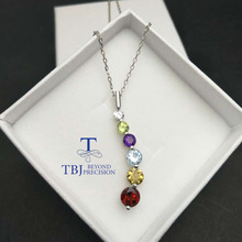 TBJ ,natural colorful gemstones pendants with natural garnet ,citrine ,blue topaz ,amethyst and peridot pedants for women