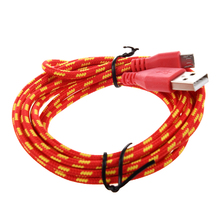 HFES 2M Braided Fabric Mini USB Data&Sync Charger Cable Cord For Cell Phone Red(China)