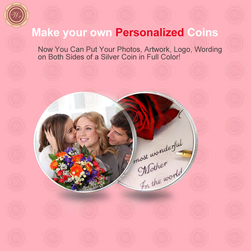 Wr Quality Customized Metal Coin Creative Mother Day Gift 99.9 Silver Foil Personalized Coin Collectible Art Craft 40x3mm(China)