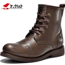 Z. Suo GTY16056 The Best Quality Cow Leather Men's Weatern Boots Autumn Winter British 100% Full Grain Leather Man Army Boots