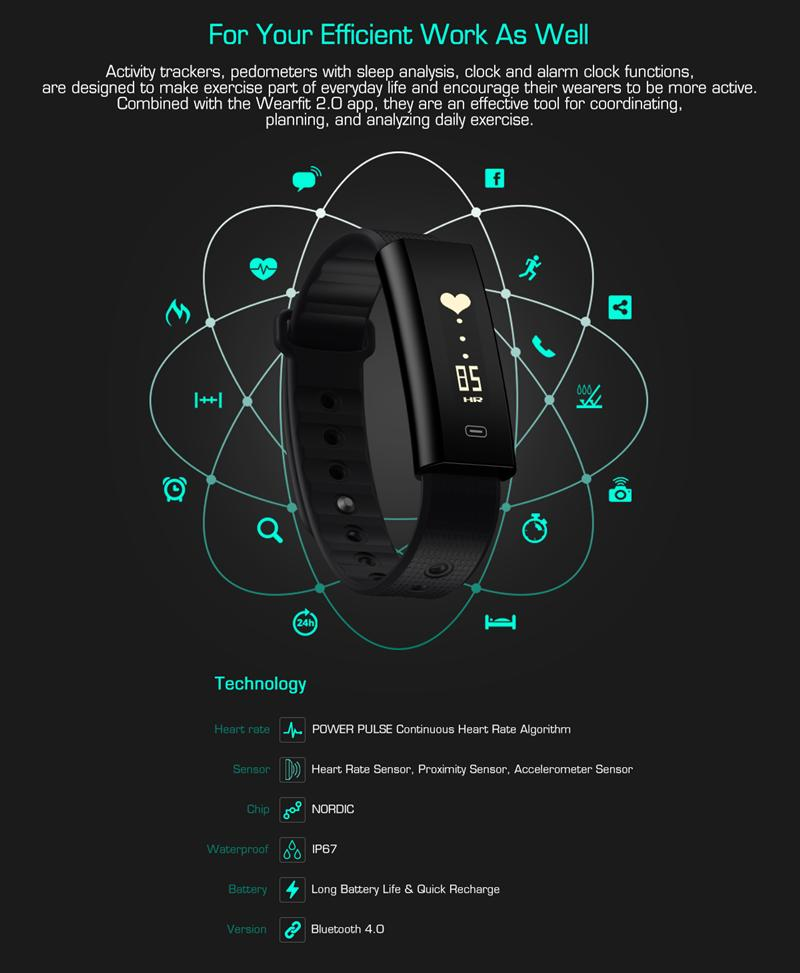 Zeblaze Arch Plus Smart Wristband Watch Bracelet Continuous Heart Rate Sport Route Tracking Stopwatch All Day Activity Tracker