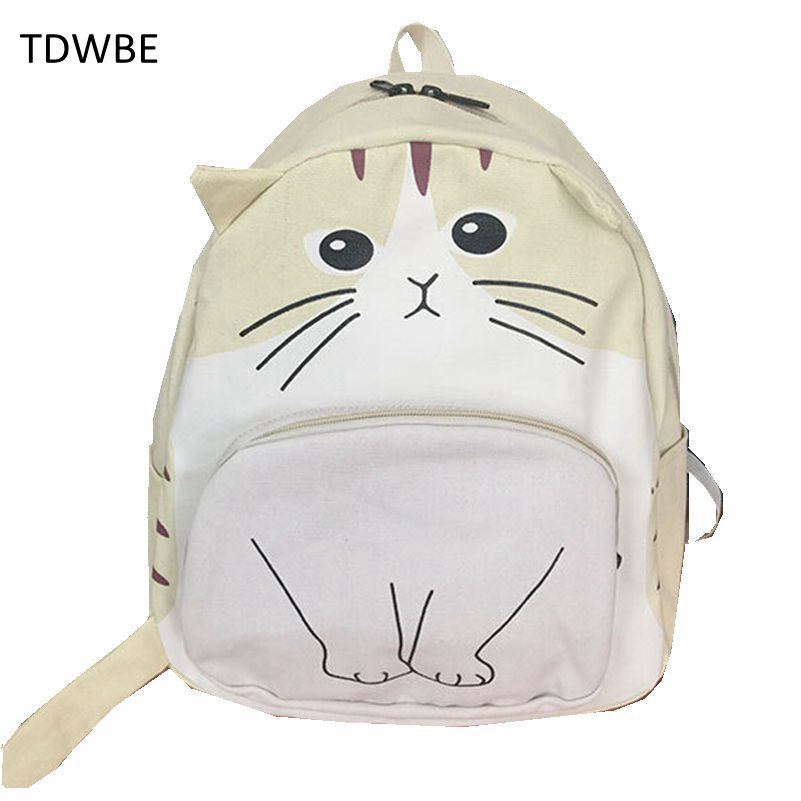 TDWBE Brand Cute Animal Cat Prints Women Casual Daypacks High Quality Canvas Backpack for Teenage Girls Woman Shoulder Bag<br><br>Aliexpress