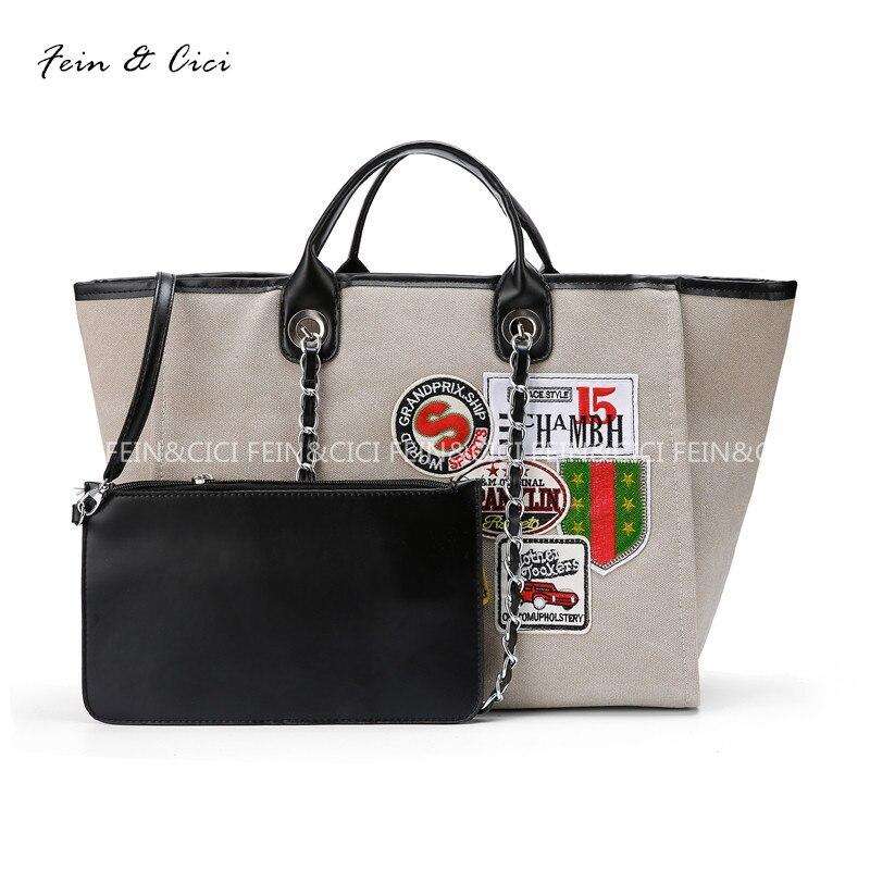 canvas totes bag women large big shopping bag appliques chains bag luxury brand design handbag beige 2017new<br>