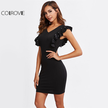Buy COLROVIE Black Dual V Neck Fitting Dress Pearl Embellished Women Ruffle Sexy Party Club Dresses 2017 New Elegant Bodycon Dress for $14.99 in AliExpress store