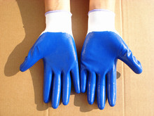 12pairs/lot N529 Blue nitrile gloves ,oil resistant working gloves(China)