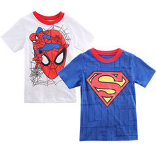 New 2016 Boy Superman T Shirt clothes O neck short sleeve t-shirts for couples Cotton tees(China)