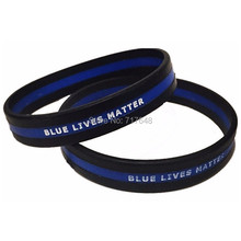 300pcs double printed Thin Blue Line debossed logo Blue Lives Matter wristband silicone bracelets free shipping by FEDEX express