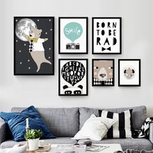 Cute Cartoon Animals Print Nordic Decorative Mural Poster No Frame Canvas Drawing Wall Art Painting Sofa TV Background Ornaments
