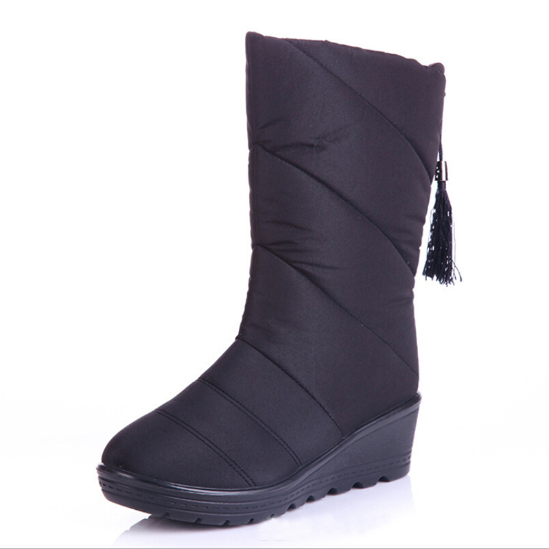 New arrival womens down snow boots wedges platform winter boots with fringe thick short plush warm casual shoes free shipping<br><br>Aliexpress