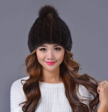 Mink fur hat fashion cute fox fur hats for men and women(China)