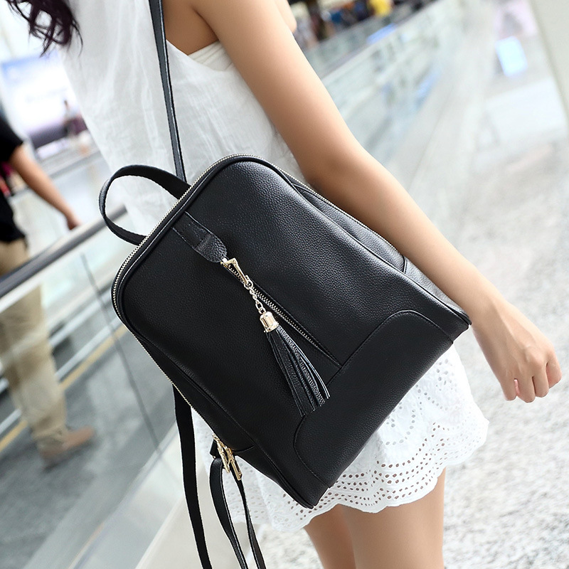 2017 New Fashion genuine leather backpack women Bags Tassel Shoulder bags Teenage girls student casual Travel  bag<br>