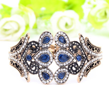 Exquisite Ethnic Resin Flower Bangle Bracelet Turkish Crystal Jewelry Cuff Antique Gold Color Peacock Bracelets Tulip Bangle