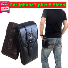 NEW Sports Wallet Mobile Phone Bag Genuine Leather Outdoor Cover Case For Apple Iphone 7 plus Hook Loop Belt Pouch Holster Bag