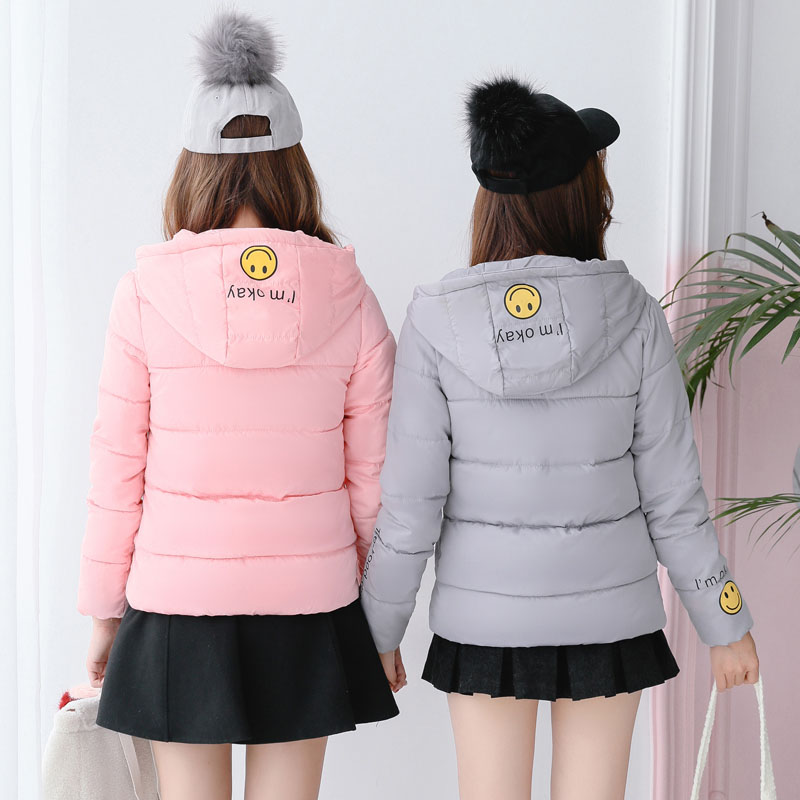 Cute Smile Women Winter Cotton Padded Jacket Sweet Short Coat Kawaii Parka Warm Short Jackets Hooded Overcoat Kpop Female ParkasÎäåæäà è àêñåññóàðû<br><br>