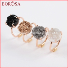 BOROSA New Druzy 12mm Round Rose Gold Color Claw Titanium AB Silver Black Crystal Stone Natural Druzy Ring Gems Jewelry ZG0166