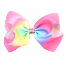 8 inches Big Huge Large Sparkly Glitter Rhinestones Rainbow Large Hair Bows Alligator Hair Clips for Girls Toddlers Women(China)