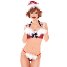 Ladies Red Christmas Sequines Lingerie Set Sexy Miss Santa Xmas Women Gift Erotic Halter Bra and G-String with Villus Outfits