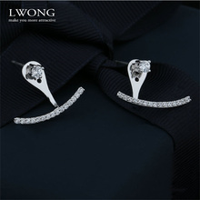 Statement Pave CZ Stones Curved Line Ear Jacket Earrings Women Elegant Front Back Two Sides Earrings Ear Cuff Ear Climber Studs(China)