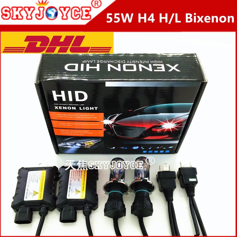 10X DHL Freeshipping DC12V 55W headlight lamp hid H4 bixenon hid kit H4-3 6000K 8000K 5000K bi xenon H4 4300K hid kit H4 hi low <br><br>Aliexpress
