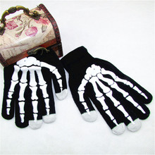 New Style Winter Warm Full Finger Men Women Unisex Ghost Bone Touch Screen Knit Skeleton Gloves A7(China)