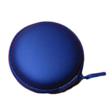 Round Portable Mini Hard Storage Case Bag Box for Earphone Headphone SD TF Cards Navy blue