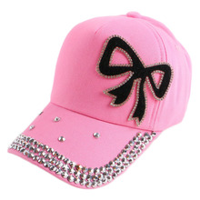 4-12 boy girl child kids beauty baseball cap bling rhinestone bowknot casual outdoor children fashion snapback hat baby gorras(China)