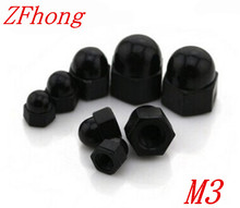 100pcs  M3 cap nuts black nylon plastic decorative nut