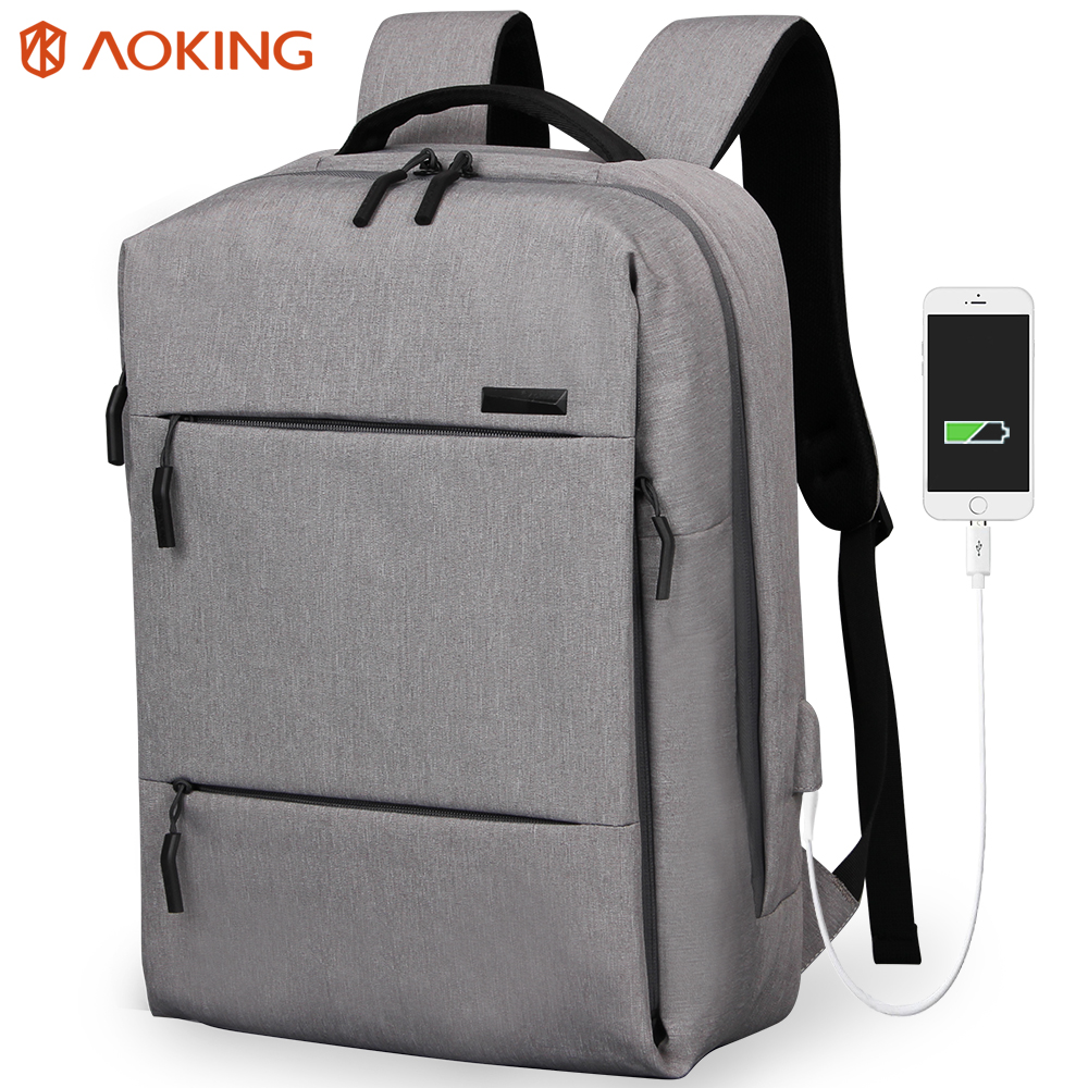 Aoking Anti-thief USB charging 15.6 inch laptop backpack women Men Backpack functional school backpack Casual Leisure Mochila<br>