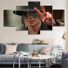 5 Panel Music Michael Jackson Poster Wall Art Modern Home Decorative Bedroom Canvas Painting Print Wall Picture Style Framework(China)