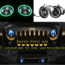 "2 PCS Green Halo Round 7"" Led Headlight  7 Inch  7""  H4 H1 Auto Car Super Bright Projector High Power Cree Led Head light  Bulb"