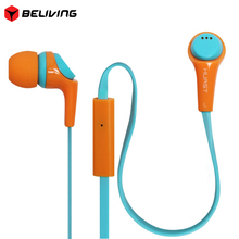 Huast HST36 Contrast Colors Headset Flat Wired Earphones Stereo Music Earphone with Mic In-Ear Earbuds for MobilePhone(China)