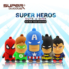 best selling Super heros usb flash drive 32GB Batman/Superman Pen drive 4GB 8GB 16GB Memory Stick 64GB 128GB gift toy pendrives(China)