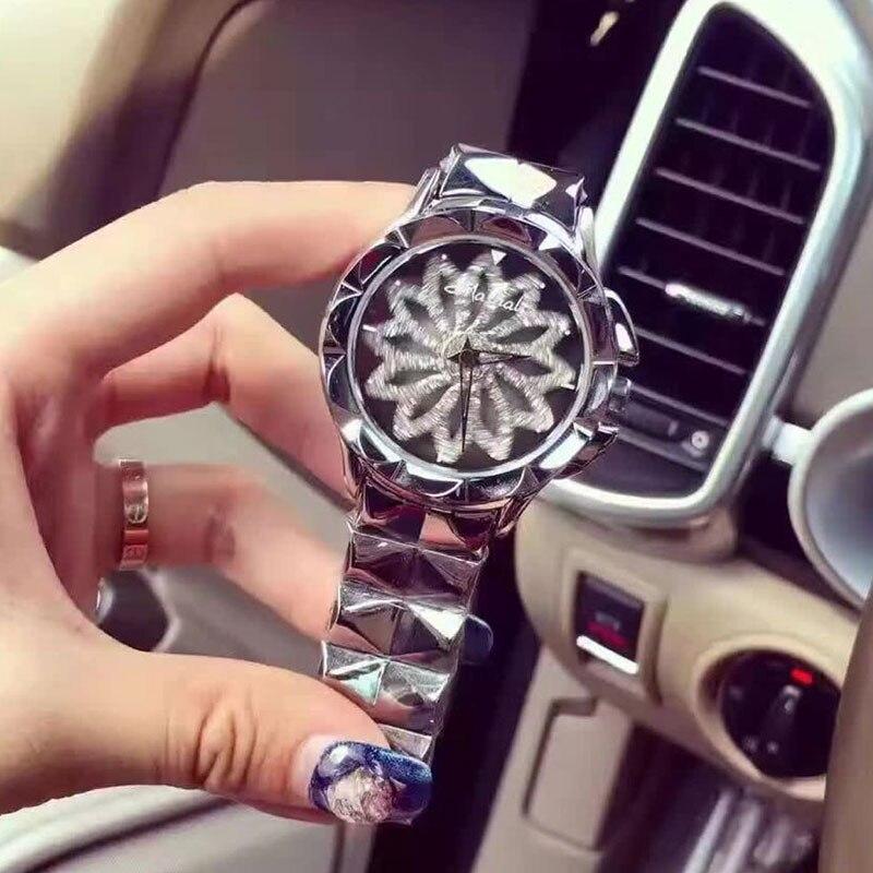 New Women Stainless Steel Watch Lady Shining Rotation Dress Watch Big Diamond Stone Wristwatch Lady Silver Watch reloj mujer<br>