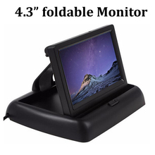 4.3 inch car monitor Foldable TFT LCD Screen display for backup parking camera reverse priority two channels video input(China)
