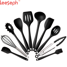 Kitchen Utensils Cooking Set Includes 10 Pieces Non-stick Cookware Spaghetti Server, Soup Ladle, Slotted Turner, Whisk(China)