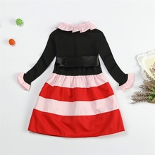 Autumn Little Girl Dress Stripes Wavy Baby Kids Dresses Ribbon Belt Girl Dress Princess School Dress Ceremony Party Baby Clothes