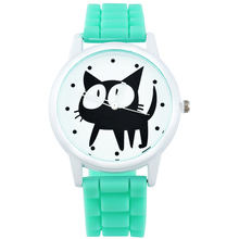 2016 New Cute Cat Watches Women Fashion Casual Sport Watch Quartz Wristwatches Jelly Silicone Watch For Girl Female Clock