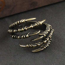 Gothic Punk Antique Copper Eagle Claw Ring, Fashion Men's Opening Talon Rings Spell Mystery Jewelry