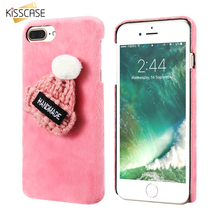 KISSCASE Girly Christmas Hat Fur Plush Case For iPhone 7 7 Plus For iPhone 6 6S Plus Hard Plastic Phone Back Cover Accessories(China)