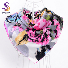 Navy Blue Silk Scarf 2015 Autumn Winter Chain Women Square Scarves 90X90cm Mujeres Bufanda Pure Silk Ladies Crepe Satin Scarf