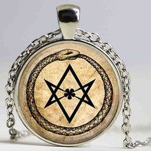 Art Glass Pendant ouroboros hexagram snake pendant occult magic eternity alchemical crowley parchment fashion jewelry