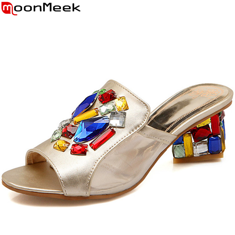 MoonMeek shoes woman 2016 new fashion high quality women sandals high heels rhinestone ladies slippers sexy summer shoes<br>