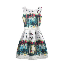 2017 Summer Style Dresses For Girl Floral Printed Sleeveless Formal Girl Dresses Teenagers Party Dress Cheap 4 style 12 colors(China)