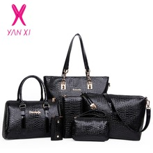 YANXI New 6 in 1 Fashion luxury designer crocodile PU Tote+Shoulder Satchel/Messenger+Clutches composite bags brand handbags set(China)