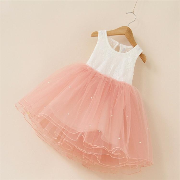 New 2017 flower girl party dress baby birthday tutu dresses for girls lace baby vest baptism dresses pearls kids wedding dress(China)