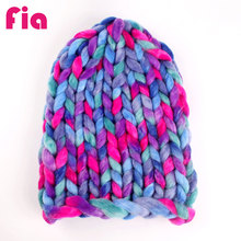 FIA Handmade Fashion Woman's Warm Woolen Winter Hats Mixed color ultra coarse Knitted Fur Cap For Woman ZZ4024(China)